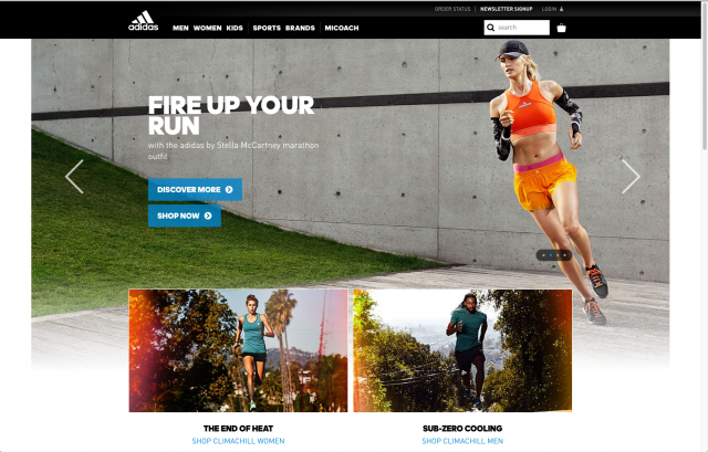 Adidas layout 2 homepage 8istudio