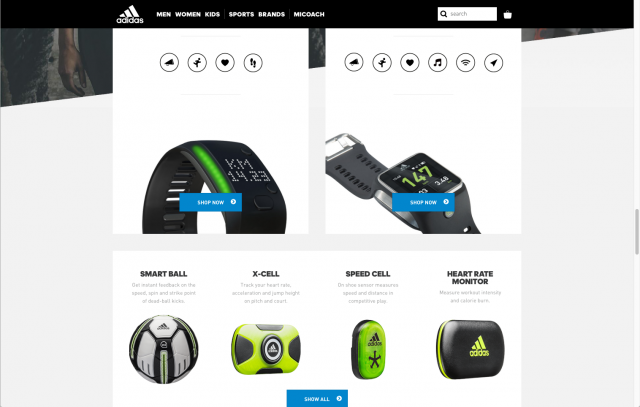 Adidas layout Micoach devices 8istudio