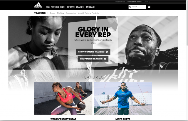 Adidas layout Training tab 8istudio