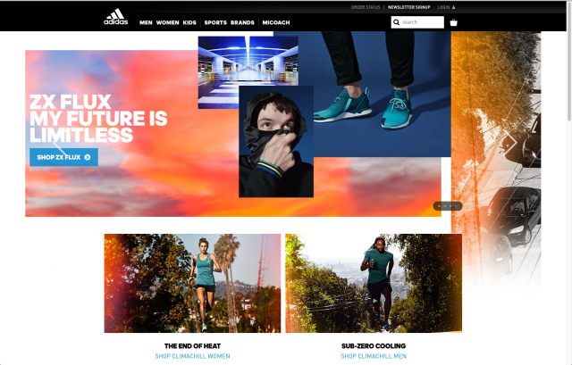 Adidas layout homepage 8istudio