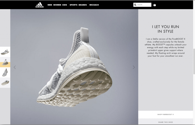 Adidas layout product page 8istudio