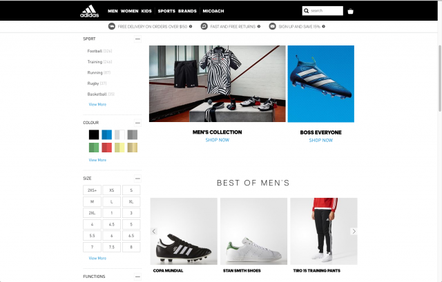 Adidas layout shop 8istudio