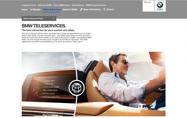 BMW desktop Offers and services layout 8istudio