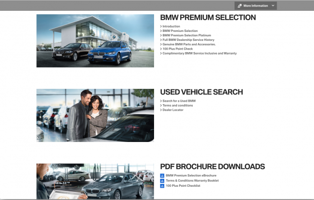 BMW desktop Used Vehicles tab 2 layout 8istudio