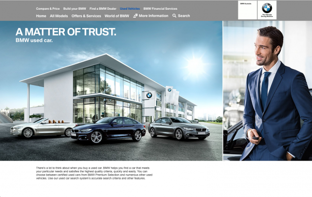 BMW desktop Used Vehicles tab layout 8istudio