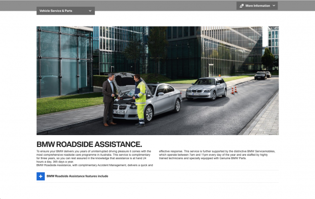 BMW desktop Vehicle assistance layout 8istudio