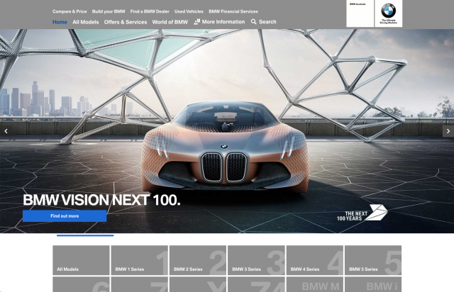 BMW desktop homepage layout 2 8istudio