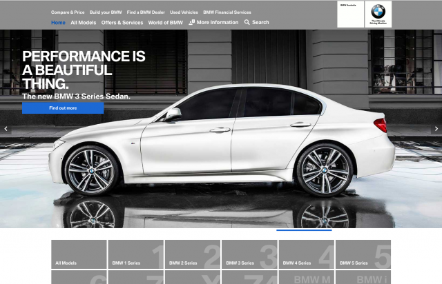 BMW desktop homepage layout 8istudio