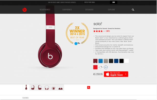 Beats By Dre product page 8istudio