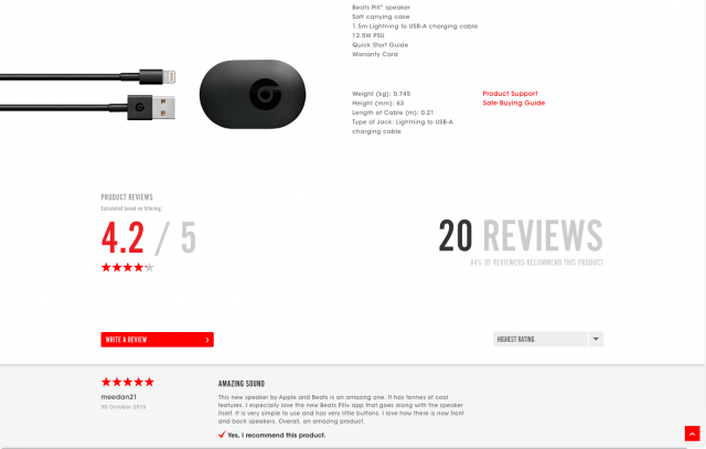 Beats By Dre product page with reviews 8istudio