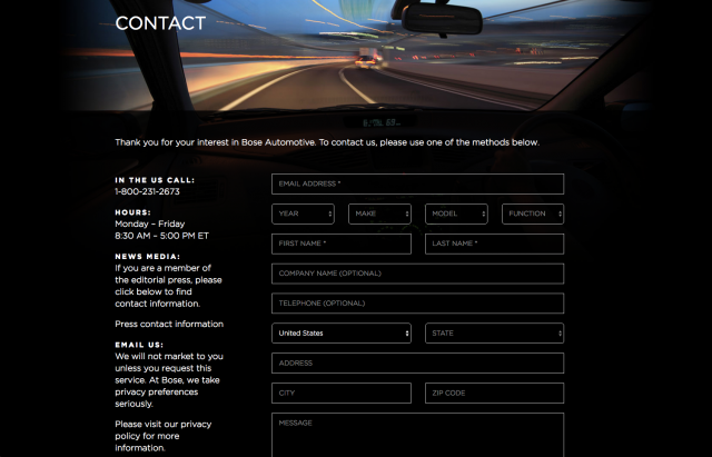 Bose Automotive contact form layout 8istudio