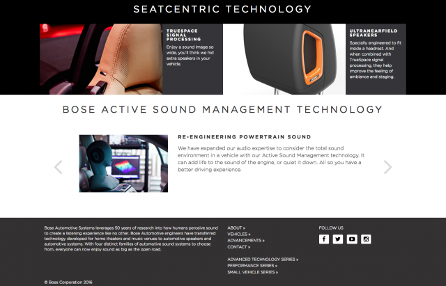 Bose Automotive homepage layout 8istudio