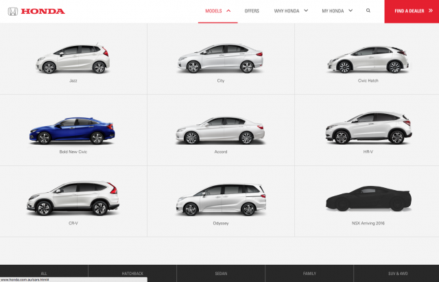 Honda desktop Cars list layout 8istudio