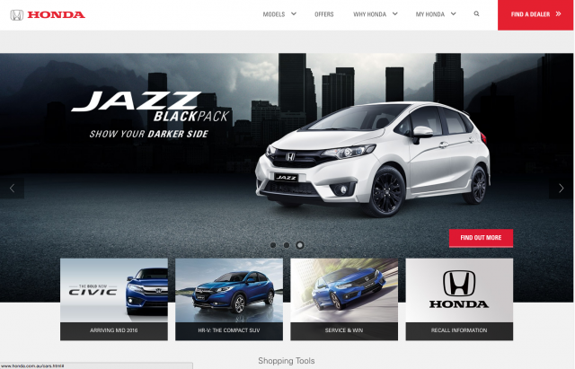 Honda desktop Cars tab layout 8istudio