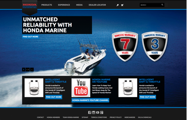 Honda desktop Marine homepage layout 8istudio