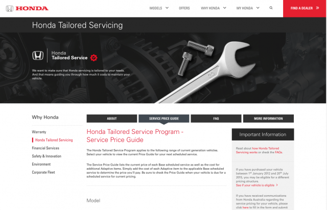 Honda desktop Servicing tab layout 8istudio