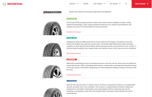 Honda desktop Tyre list layout 8istudio