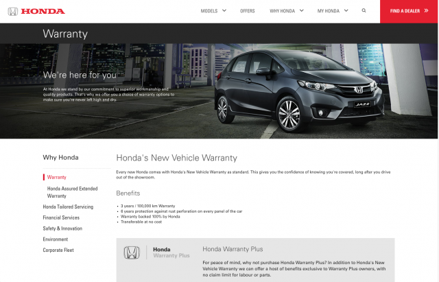 Honda desktop Warranty page layout 8istudio