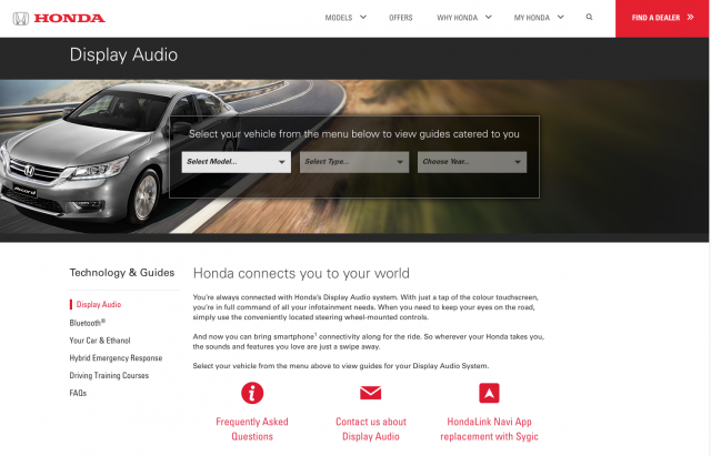 Honda desktop display audio page layout 8istudio