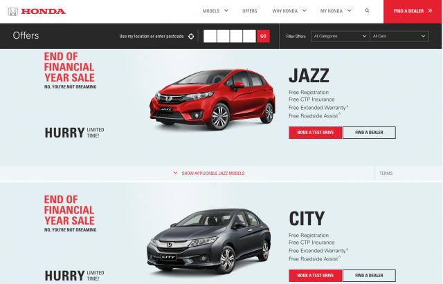 Honda desktop offers page layout 8istudio