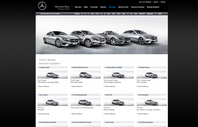 Mercedes Benz manuals page layout 8istudio