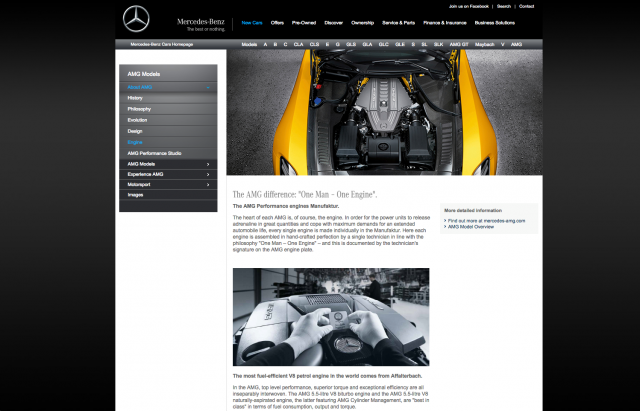 Mercedes benz About AMG page layout 8istudio