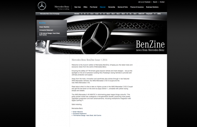 Mercedes benz BenZine layout 8istudio