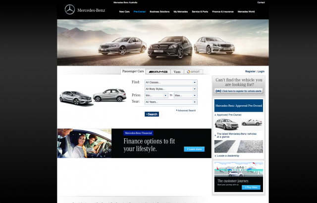 Mercedes benz Pre Order layout 8istudio