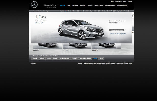 Mercedes benz homepage layout 8istudio