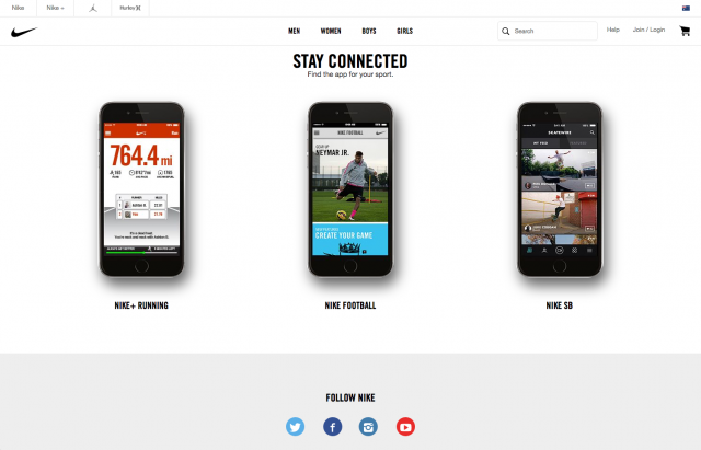 Nike Men Stay Connected App layout desktop 8istudio