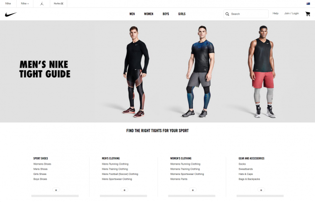 Nike Men page layout desktop 8istudio