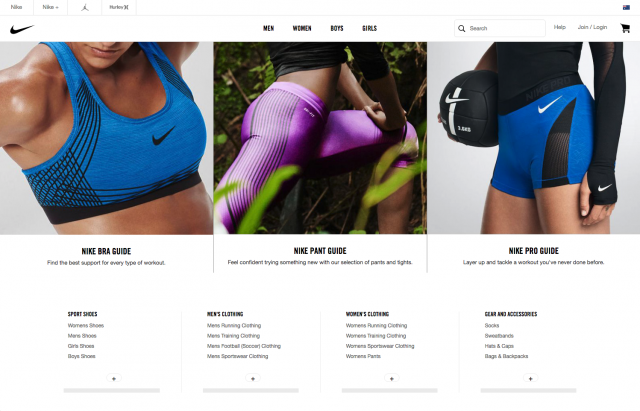 Nike Women page layout desktop 8istudio (2)