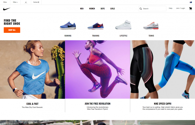 Nike Women page layout desktop 8istudio