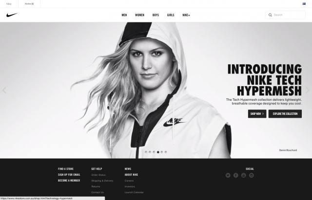 Nike homepage layout desktop 8istudio