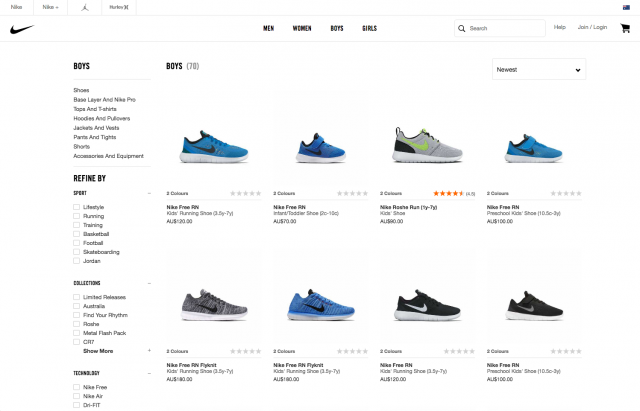 Nike product list layout desktop 8istudio