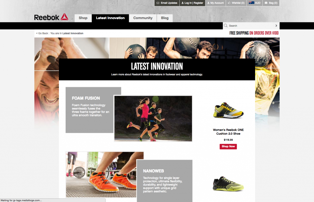 Reebok desktop Latest Innovation page 8studio