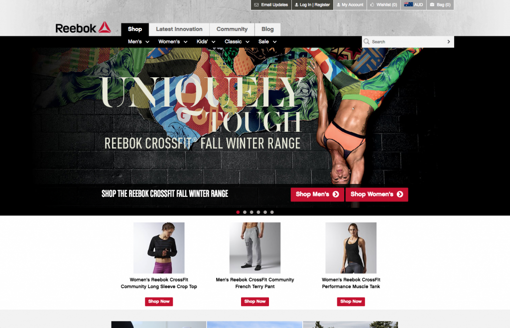 Reebok desktop Shop page 8studio