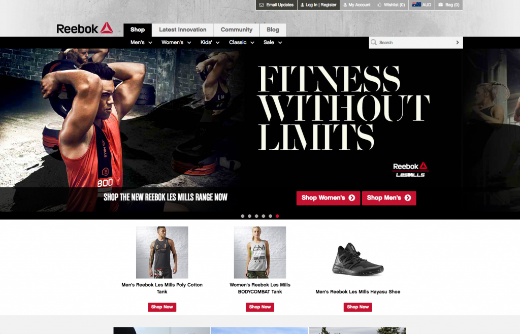 Reebok desktop homepage 8studio