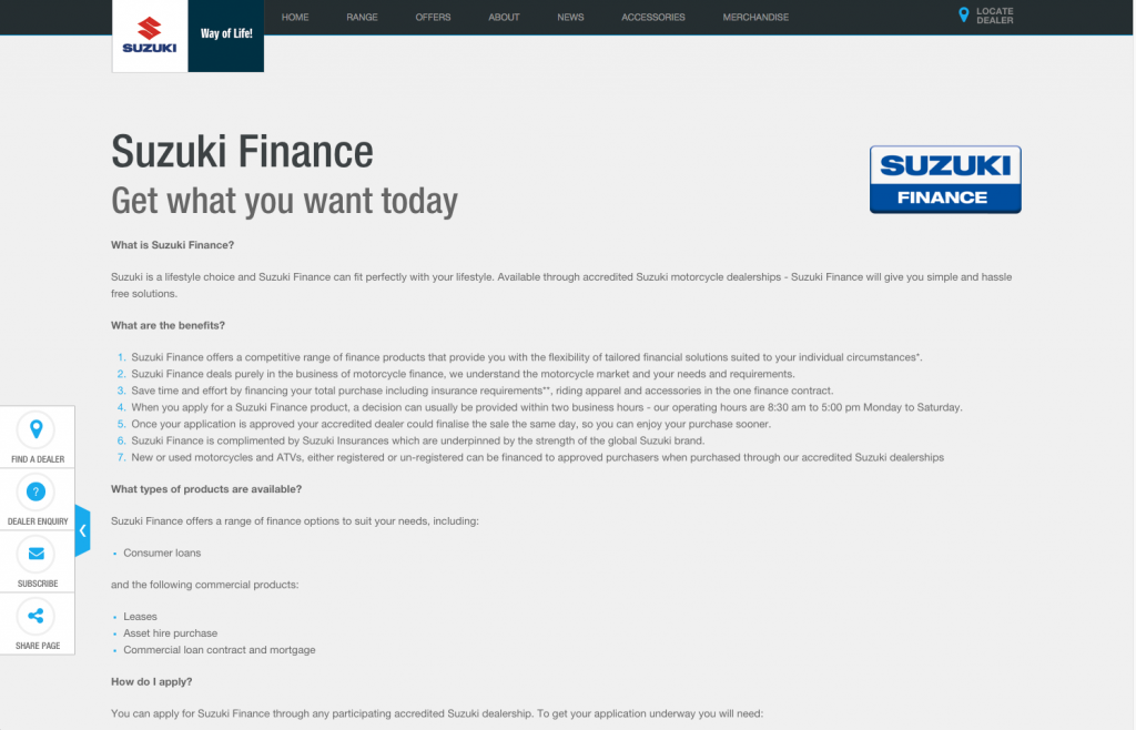 Suzuki Finance desktop layout 8istudio