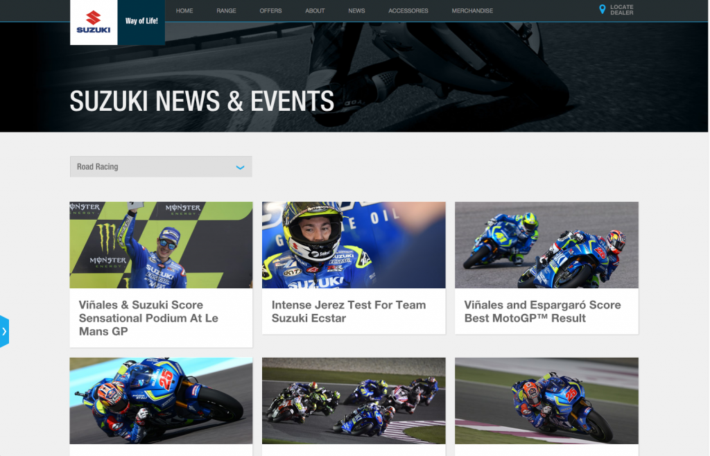 Suzuki news events page desktop layout 8istudio