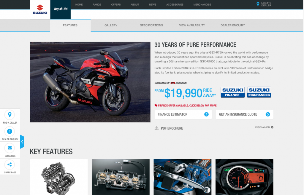 Suzuki product features desktop layout 8istudio