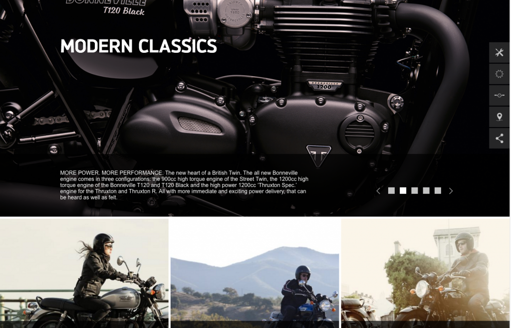 Triumph Motorcycles main slider and featured desktop 8istudio